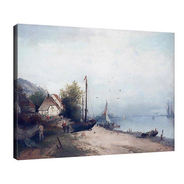 Карл Кауфман - Село на езерото с акостираща лодка, подписано с псевдонима J. Rollin №11308