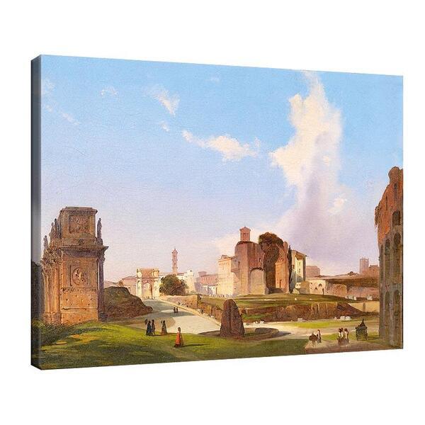 Иполито Кафи - Изглед към Римския форум с арката на Константин, Храма на Венера и Мета Суданите в центъра №11360