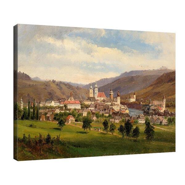 Лудвиг Халауска - Изглед към Вайдхофен с планината Зонтагсберг и църквата Света Троица №11400