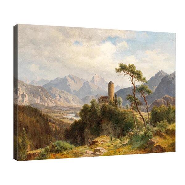 Лудвиг Халауска - изглед към долина със замък на преден план №11401