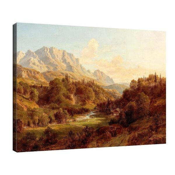 Лудвиг Халауска - Мотив близо до Нидерндорф, Тирол, на заден план дивите планини Кайзер №11405