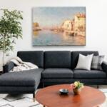 Чарлз Малфроа - Речен пейзаж в Южна Франция с ветроходни баржи №11416