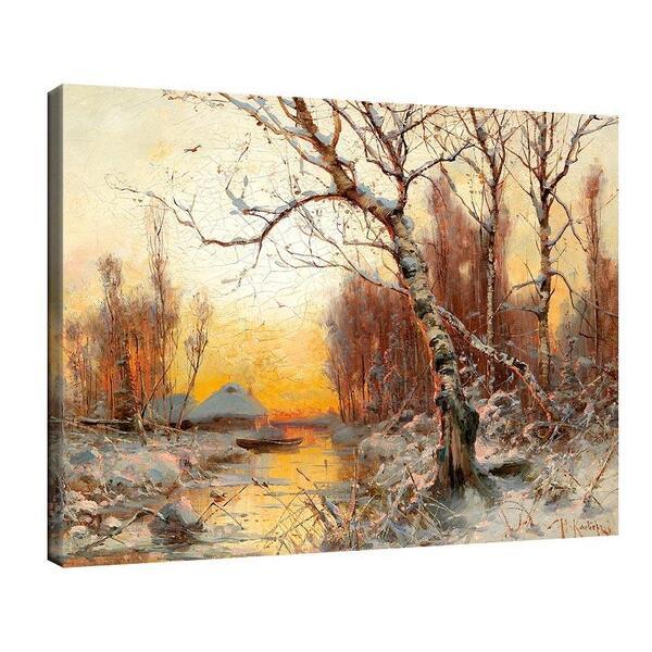 Юлий Клевер - Зимен пейзаж с бреза №11443
