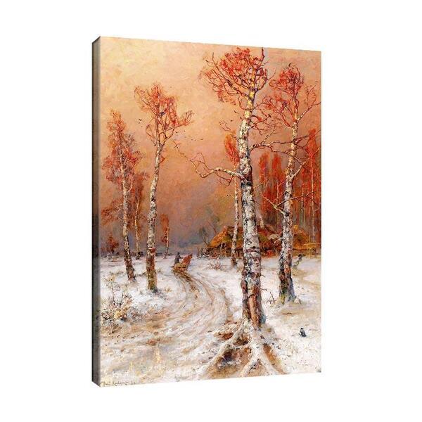 Юлий Клевер - Зимен пейзаж с гарван №11445