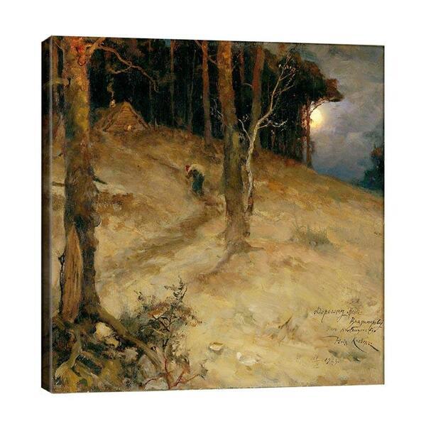Юлий Клевер - Зимен пейзаж с хижа и луна  №11448