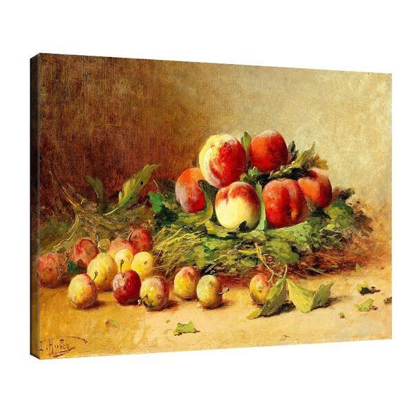 Леон Юбер - Натюрморт с праскови и сливи №11497
