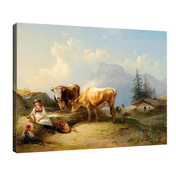Фридрих Гауерман - Дойка с момиче и две крави на Гранд №11546