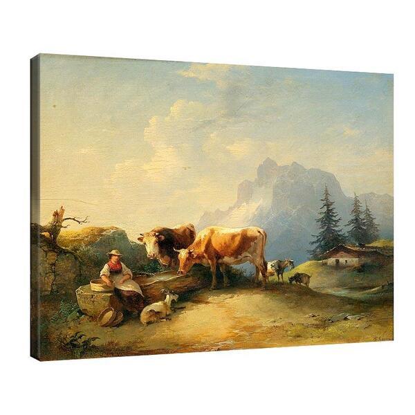 Фридрих Гауерман - Доячка с крави и кози на алпийско пасище №11547