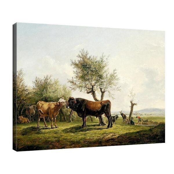 Фридрих Гауерман - Крава и бик на пасището №11552