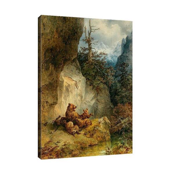 Фридрих Гауерман - Мечка майка и малките й с елен №11562