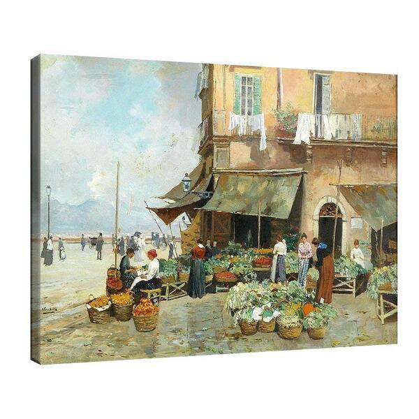Атилио Пратела - Пазарна сцена във Виа Марина Неапол №11580