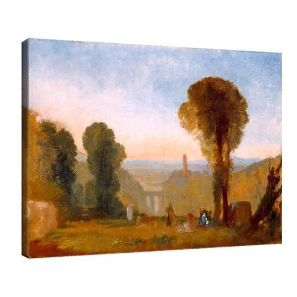 Джоузеф Търнър - Италиански пейзаж с мост и кула №11646