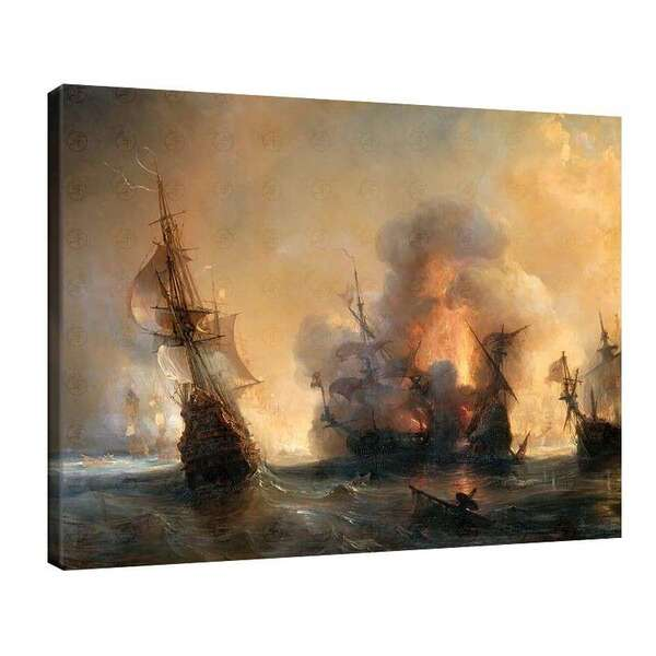 Теодор Гудин - Атака на английския флот от граф Турвил и Жан Барт в Смирна №7936