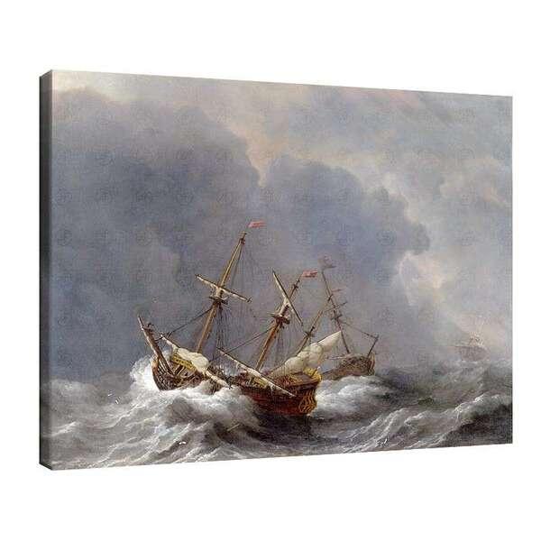 Вилем ван де Велде Стари - Три кораба в буря №7939