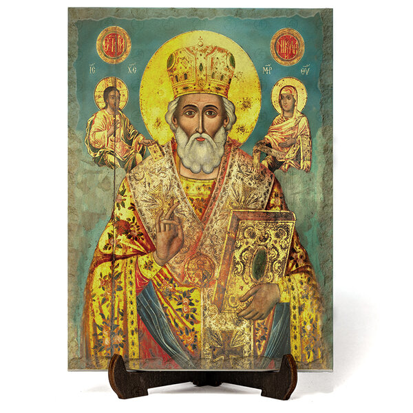 """Икона """"Свети Николай Мирликлийски Чудотворец """" на Врачански Камък 02 №9649"""