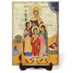 """Икона """"Свети великомъченици Вяра, Надежда и Любов и майка им София"""" на Врачански Камък"""