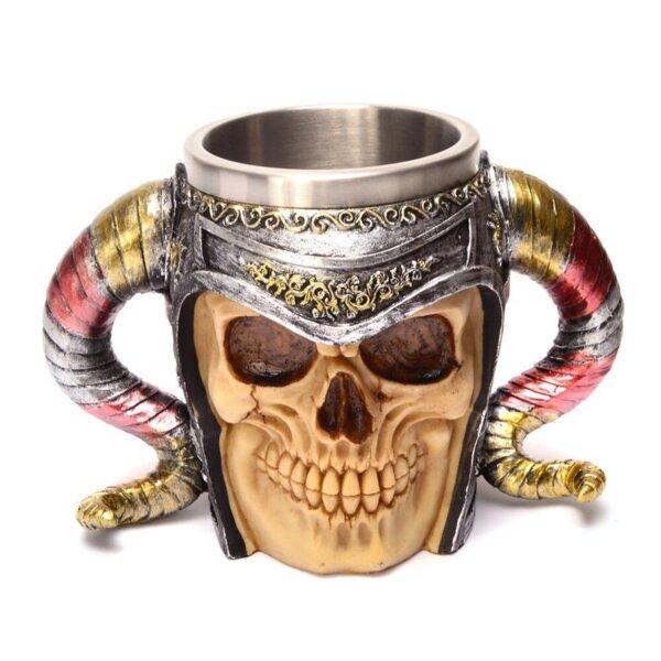 Чаша - череп с викингски шлем