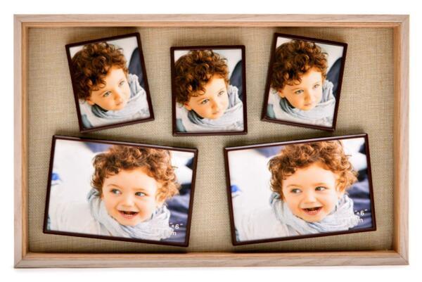 Магнитна мултирамка за снимки, 5 в 1, бежова