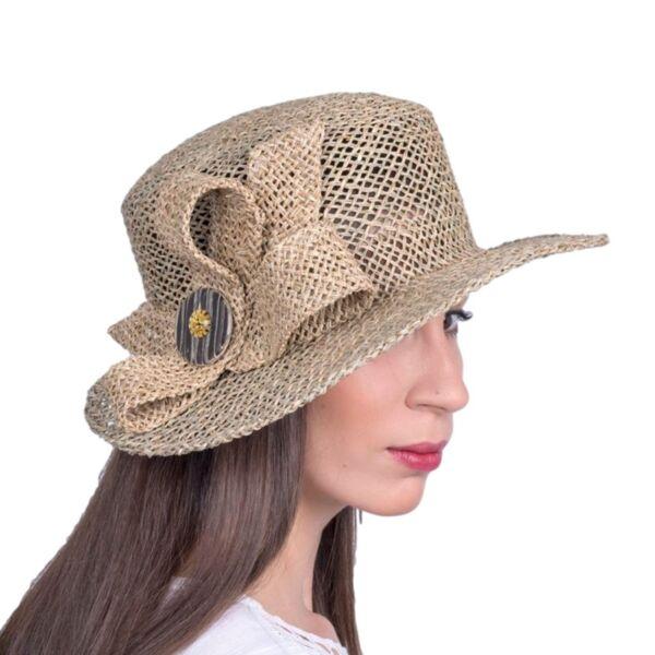 Лятна Дамска шапка от морска трева с широка периферия