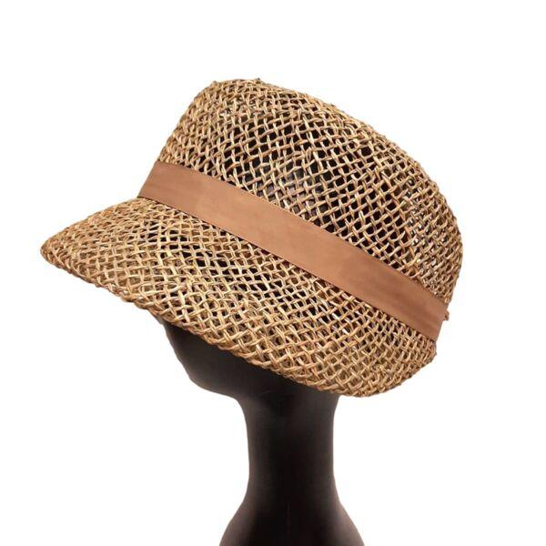 Лятна Дамска шапка от морска трева-Козет-беж
