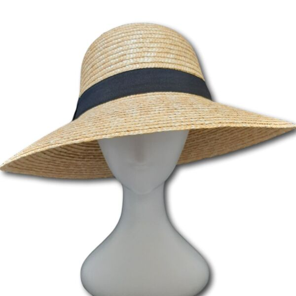 Лятна Дамска шапка от слама със широка периферия, обло дъно