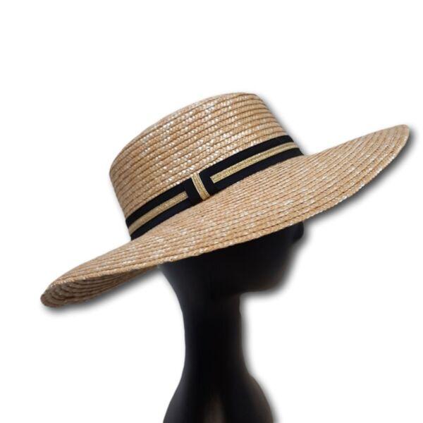 Лятна Дамска шапка от слама със широка периферия, право дъно