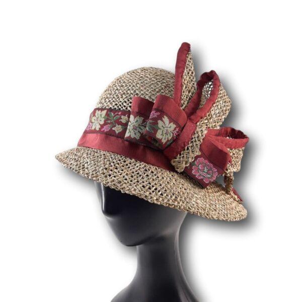 Лятна Дамска шапка клош от морска трева винена