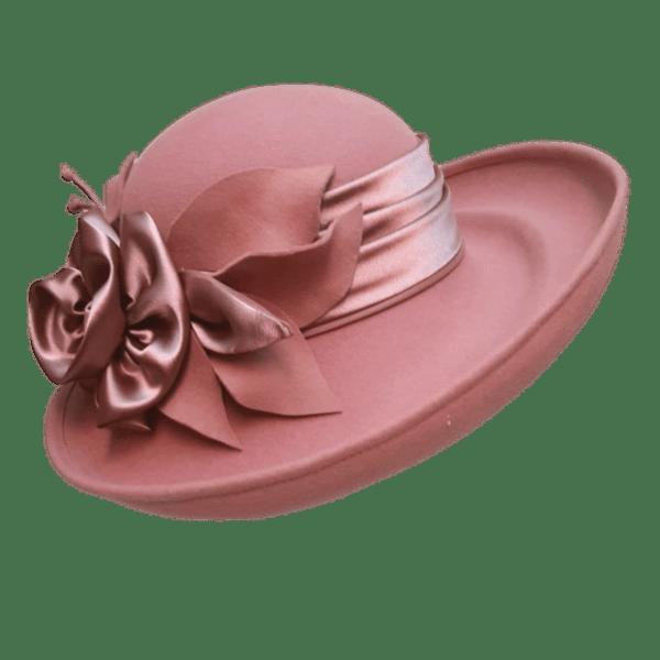 """Дамска филцова шапка """"Кралица"""" в цвят пепел от рози"""