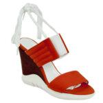 Дамски сандали в цвят корал с ластик Moda Italina