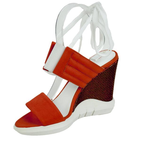 Дамски сандали в цвят корал с ластик Moda Italiana