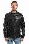 Мъжко кожено яке в черен цвят Rockeds