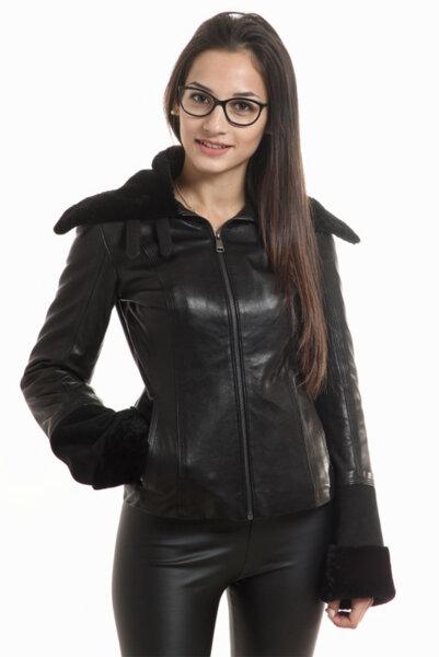 Дамско кожено яке в черен цвят на Rockeds