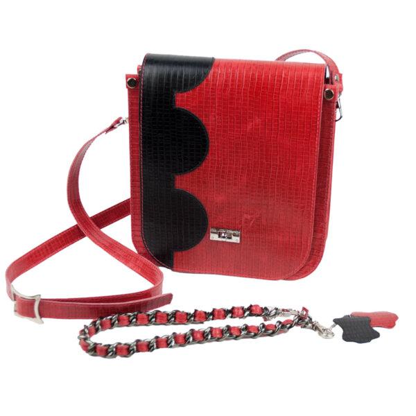 Дамска чанта в червен цвят Moda Italiana