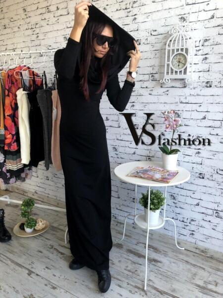 Дамска Дълга рокля с качулка от VS Fashion