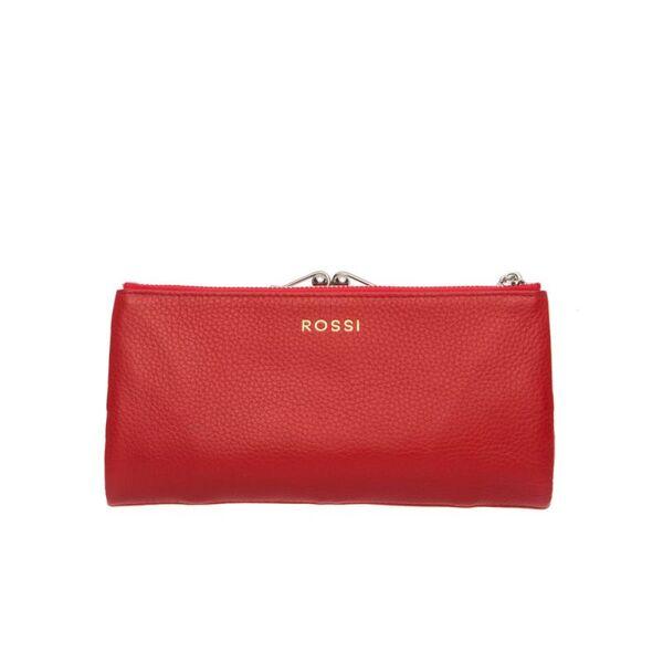 Червено дамско портмоне ROSSI, червено със сребристи елементи