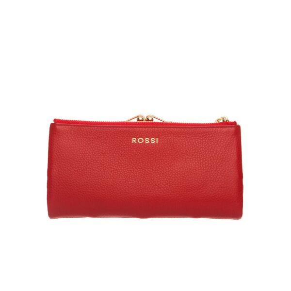 Дамско портмоне ROSSI, червено със златисти елементи