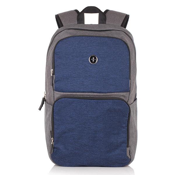 Раница Swissdigital, джобове за лаптоп, USB порт, синьо и сиво