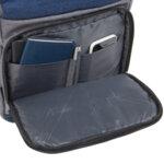 Раница Swissdigital, джобове за лаптоп, USB порт, синьо със сиво