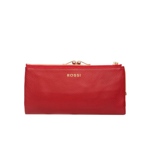 Дамско портмоне ROSSI, със златисти елементи, червено