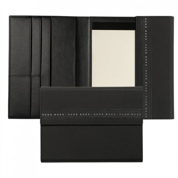 Кожена папка Hugo Boss A5 Ribbon Brushed Black
