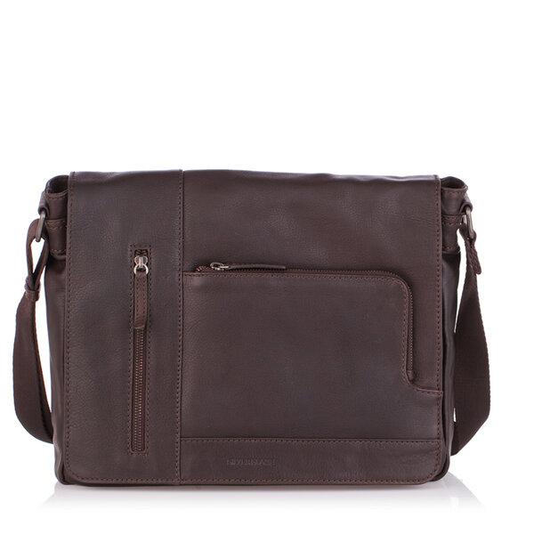 Мъжка стилна чанта OILY DIANA, Silver Flame - кафява