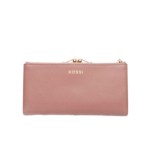 Дамско портмоне ROSSI, със златисти елементи, розово