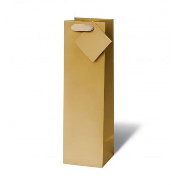 Подаръчен плик MATT GOLD  (висок - подходящ за бутилка)