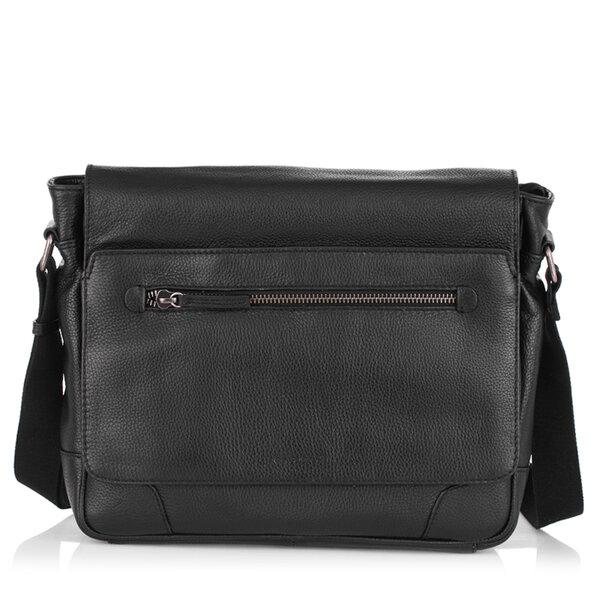 Черна мъжка чанта с цип ANDY, Silver Flame