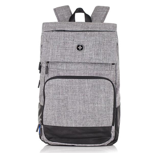 Раница Swissdigital, джоб за лаптоп, USB порт, сиво и черно