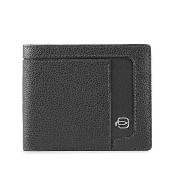 Мъжки портфейл Piquadro Erse, с 6 отделения за карти и RFID защита, черен