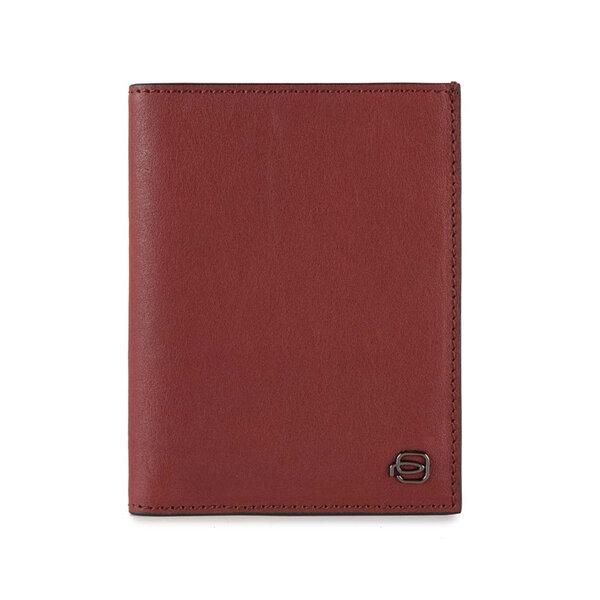 Вертикален мъжки портфейл Piquadro Black Square, с RFID защита и 9 отделения за карти, червен