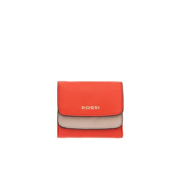 Дамско портмоне ROSSI, оранжево и кремаво