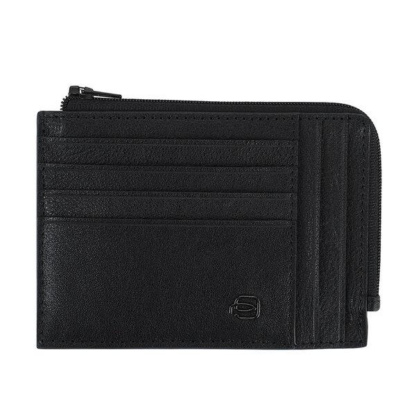 Кожен портфейл за документи, карти и монети в черен цвят Piquadro Black Square
