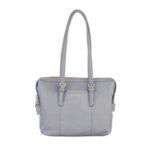 Дамска чанта ROSSI, от естествена кожа, сива